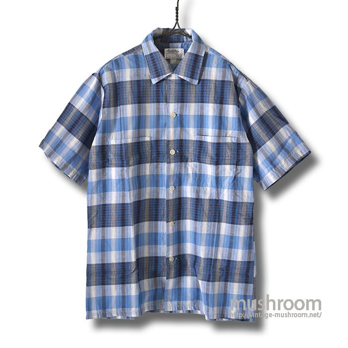 MANHATTAN S/S PLAID COTTON SHIRT(S/MINT)