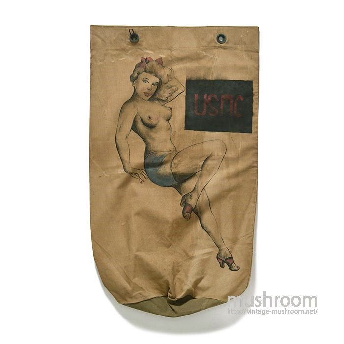 U.S.MILITARY CANVAS BARRACKS BAG WITH HAND-PAINTED