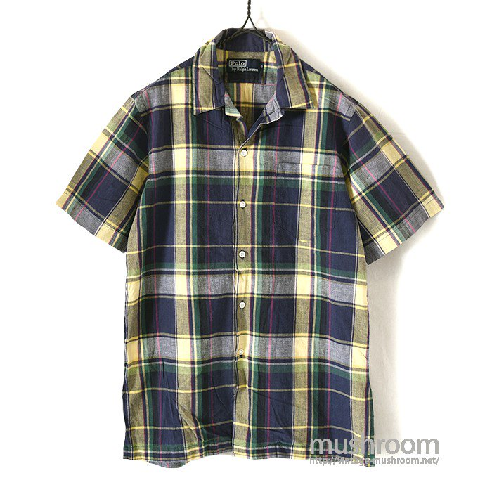 RALPH LAUREN MADRAS PLAID COTTON S/S BD SHIRT