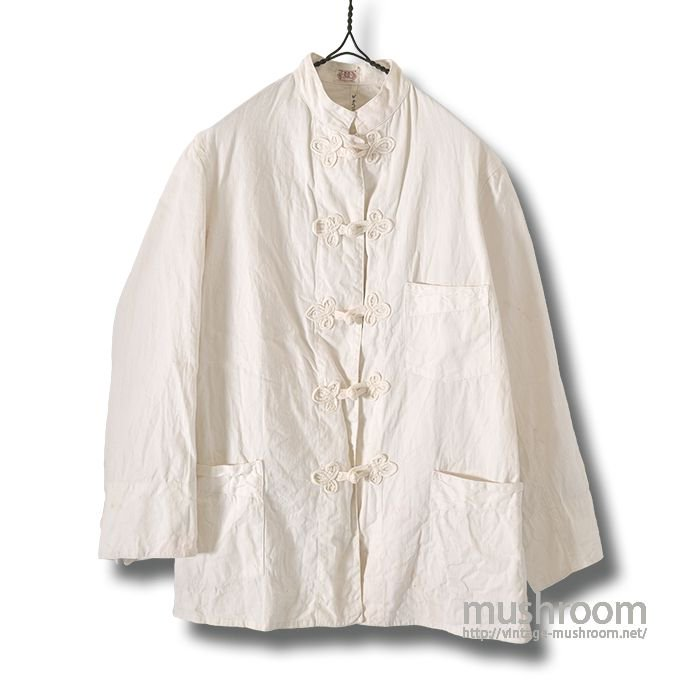 NAVY TWILL WHITE COTTON WORK JACKET
