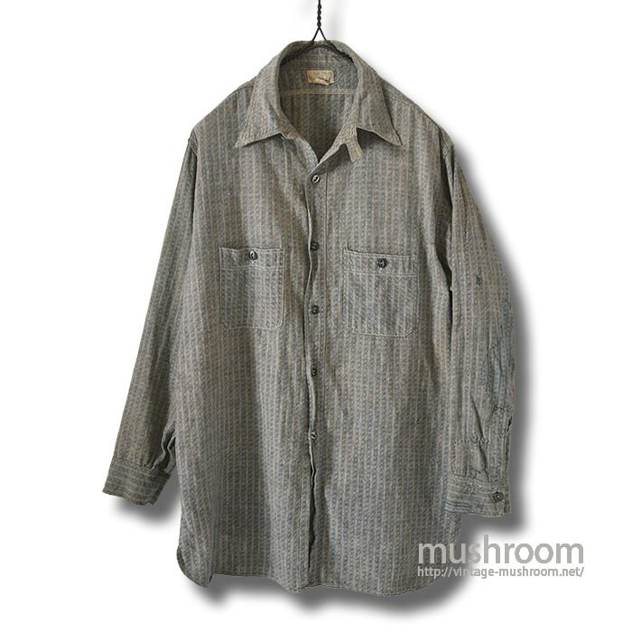 GO-PFOR DOBBY-STRIPE WORK SHIRT WITH CHINSTRAP