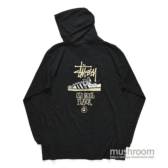 OLD STUSSY LONG-SLEEVE T-SHIRT WITH HOODY(DEADSTOCK)