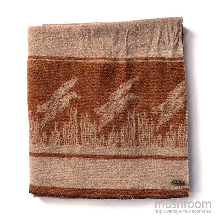 L.L.BEAN DUCK PATTERN WOOL BLANKET( MINT )