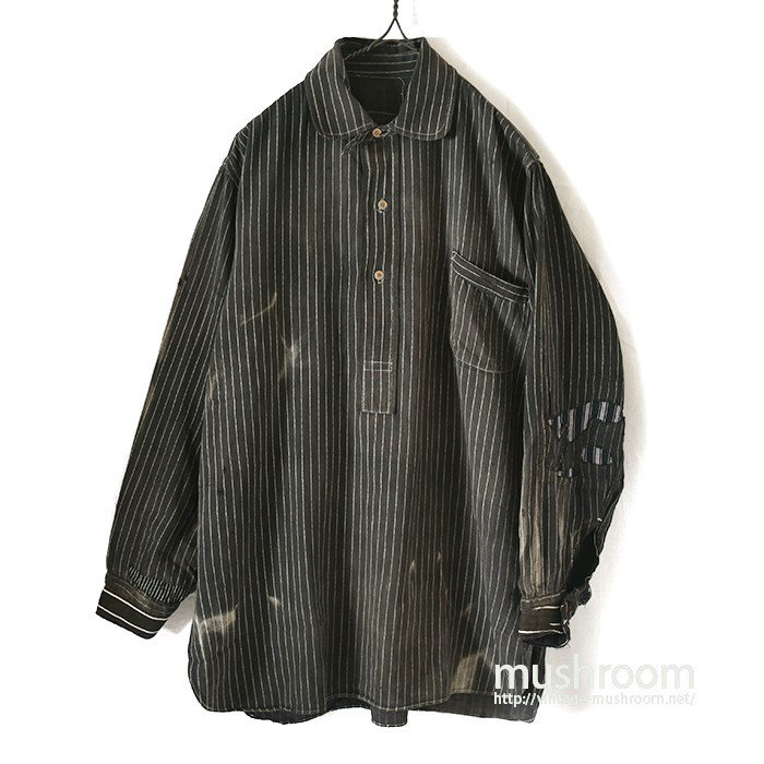 BLACK WABASH STRIPE PULLOVER WORK SHIRT