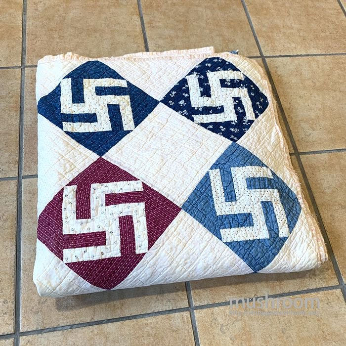 ANTIQUE CALICO PATCHWORK QUILT WITH SWASTIKA