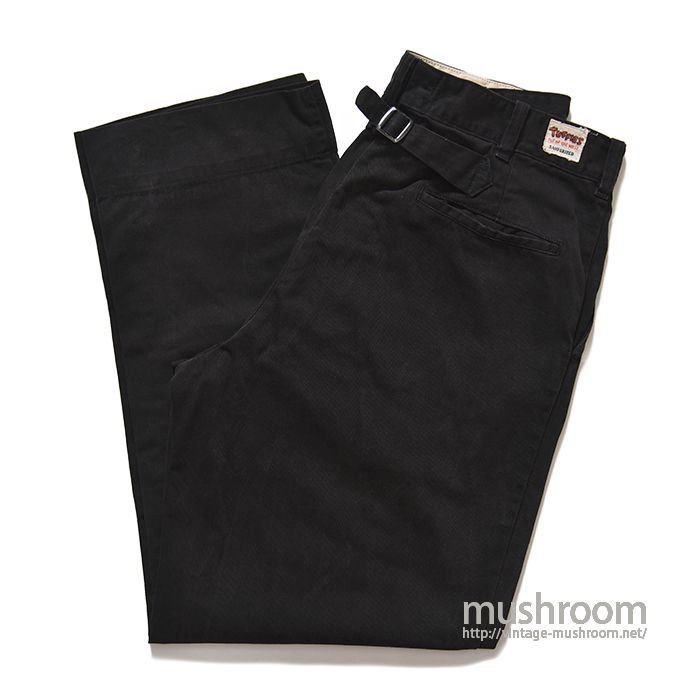 TUFFIES BLACK COTTON TWILL WORK PANTS WITH BUCKLEBACK