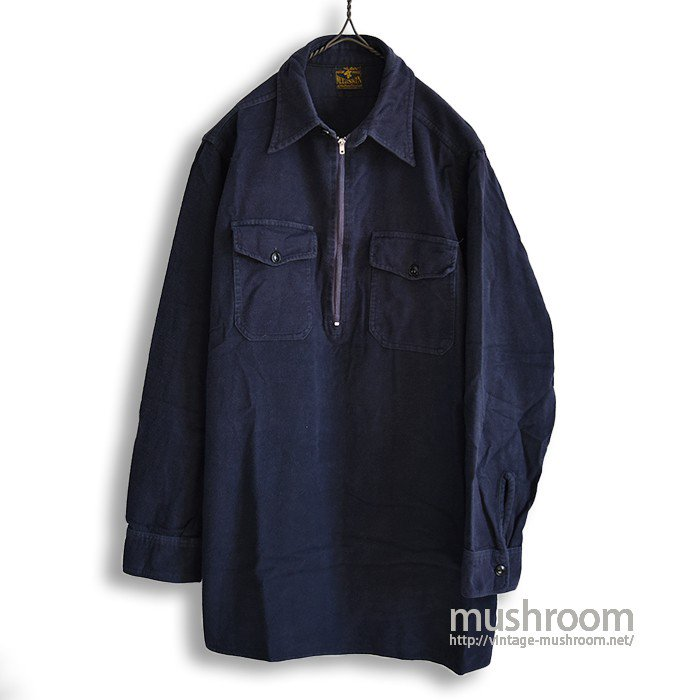 MELTON HALF-ZIP COTTON FLANNEL SHIRT