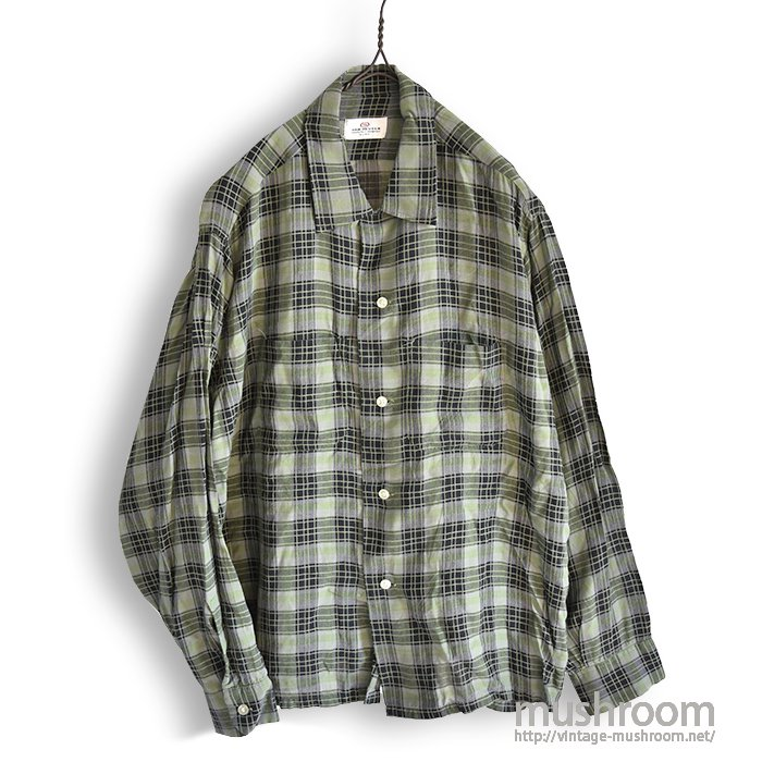 VAN HEUSEN PLAID RAYON SHIRT( MINT )