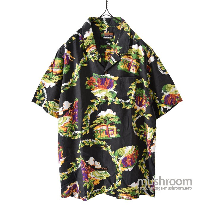 PATALOHA BLACK RAYON HAWAIIAN SHIRT