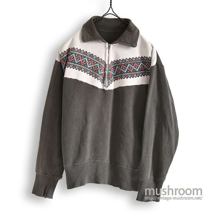 OLD SNOW PATTERN HALF-ZIP SWEAT SHIRT