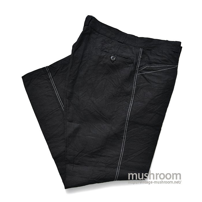 FRENCH BLACK LINEN WORK PANTS( MINT )