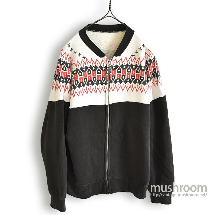 OLD SNOW PATTERN FULL-ZIP SWEAT SHIRT