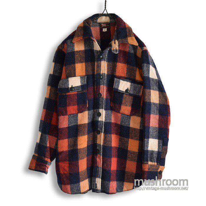 WOOLRICH PLAID WOOL SHIRT WITH CHINSTRAP