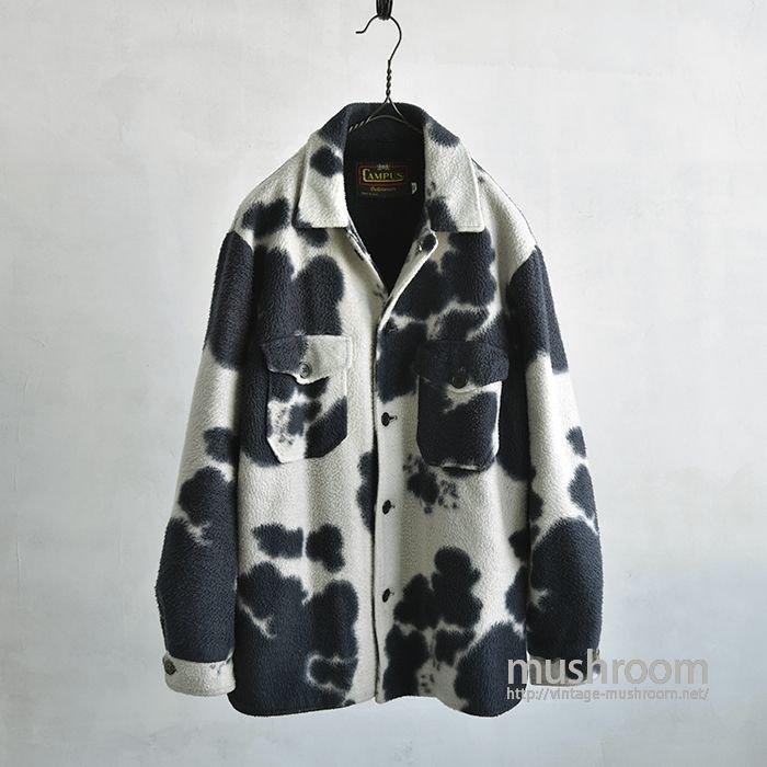 CAMPUS COW PATTERN FLEECE SHIRT