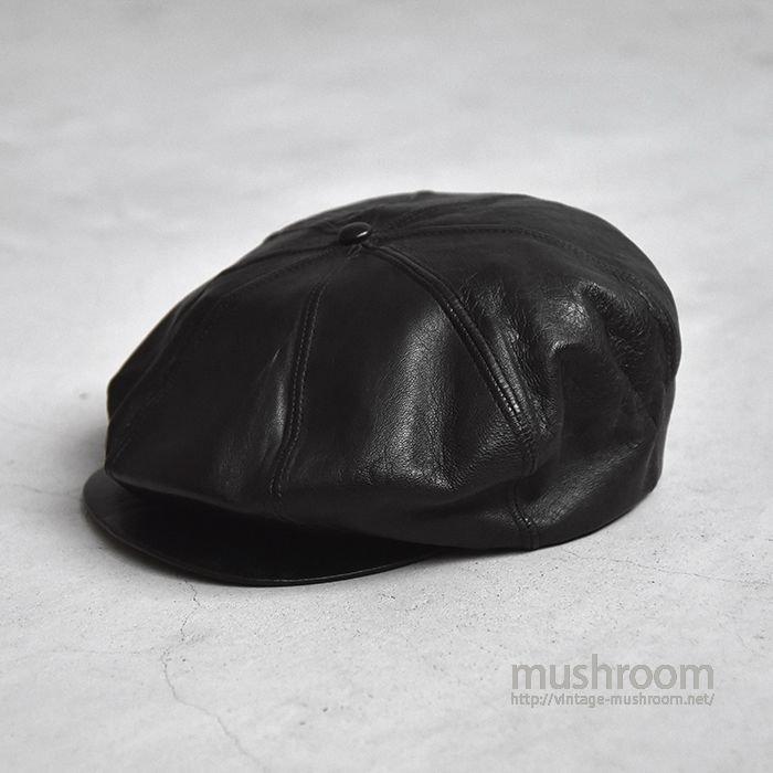 OLD BLACK LEATHER NEWSBOY HAT