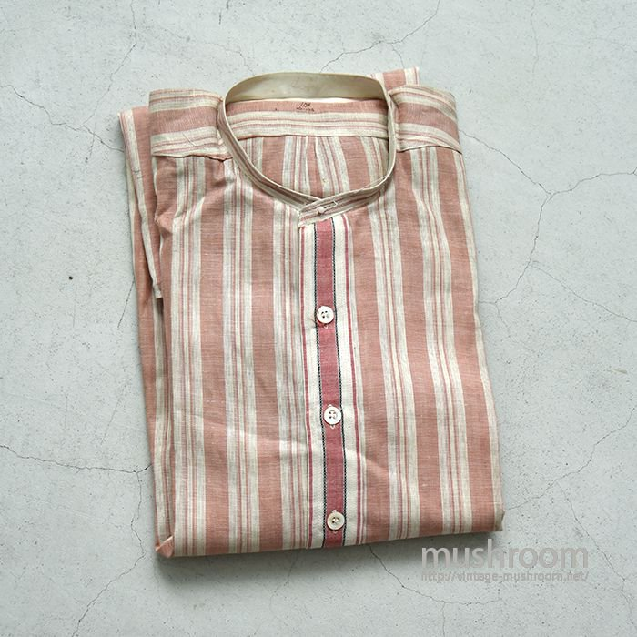 OLD STRIPE COLLAR-LESS COTTON SHIRT(15 1/2/DEADSTOCK)