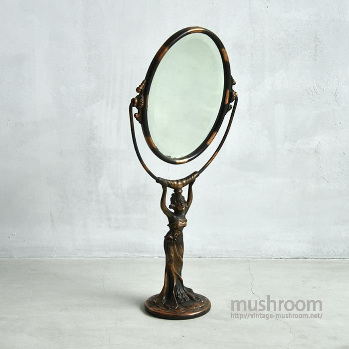 TABLE TOP SMALLER TILT JAPANNED STAND MIRROR