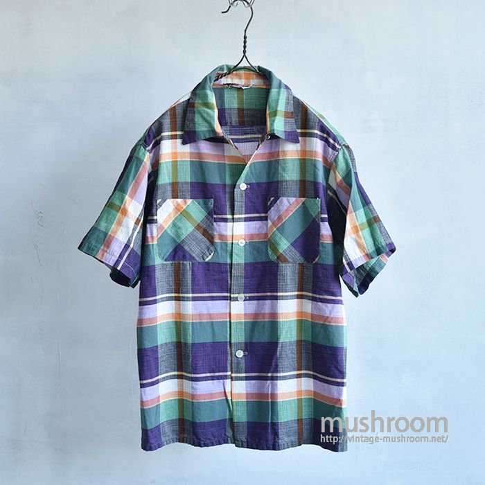 HOLLYCRAFT PLAID S/S COTTON BOX SHIRT( ALMOST DEADSTOCK )