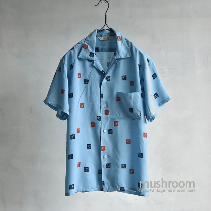 BLOCK'S COTTON&RAYON S/S BOX SHIRT(ALMOST DEADSTOCK)