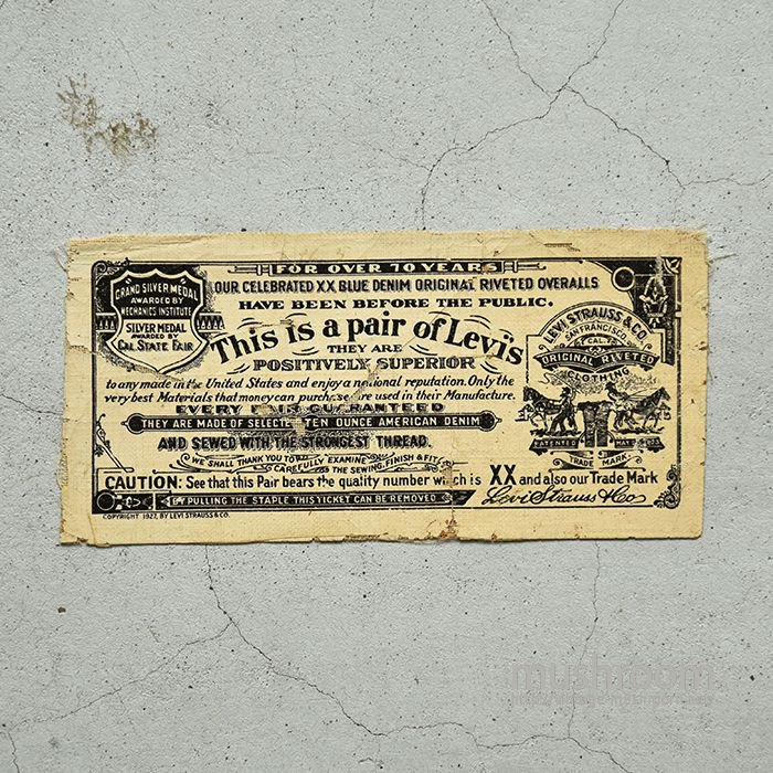 LEVI'S 501XX GUARANTEE TICKET( FOR OVER 70 YEARS )