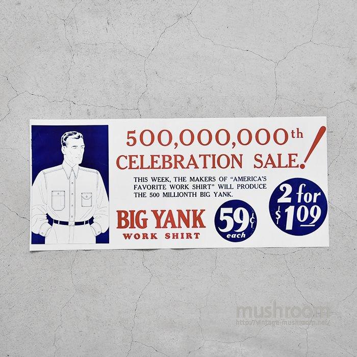 BIG YANK ADVERTISING PAPER SIGN