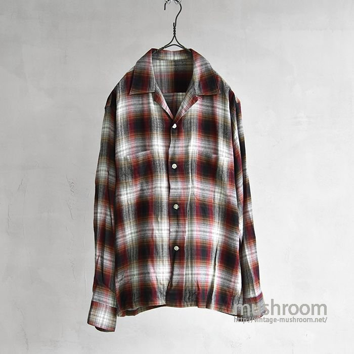 OLD SHADOW PLAID RAYON SHIRT(ALMOST DEADSTOCK)