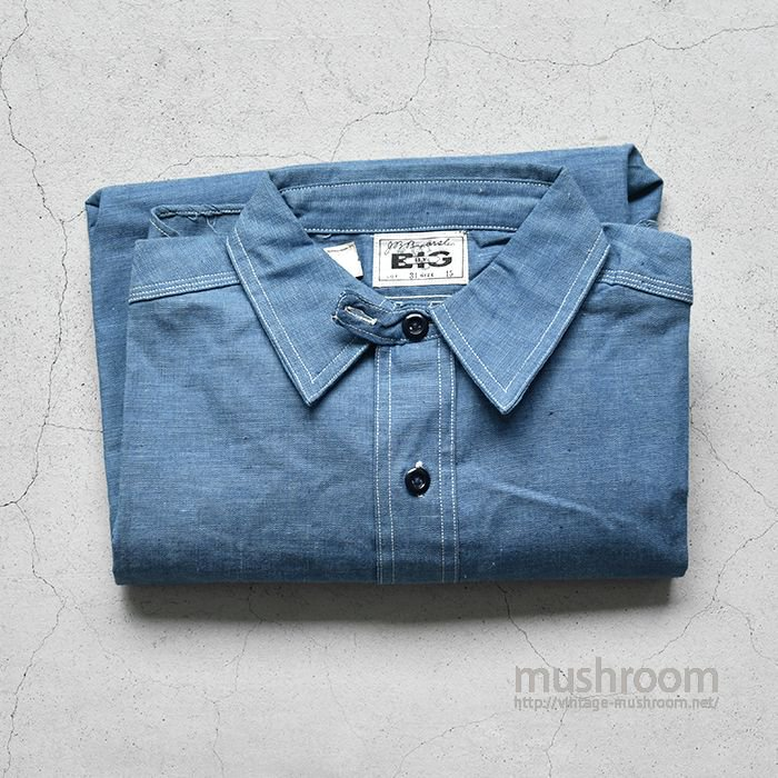 BIG BLUE CHAMBRAY WORK SHIRT WITH CHINSTRAP(15/DEADSTOCK)