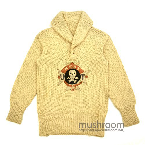 SHAWLCOLLER SWEATER With SKULL PATCH