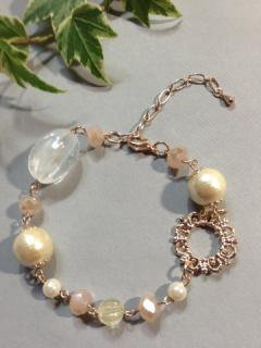 cotton pearl flower ring pinkgold burace