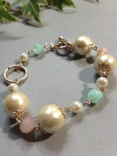 Cotton pearl pink green brace