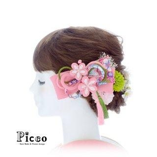 和風リボンとマムとかすみ草の和装用髪飾りセット(ピンク)