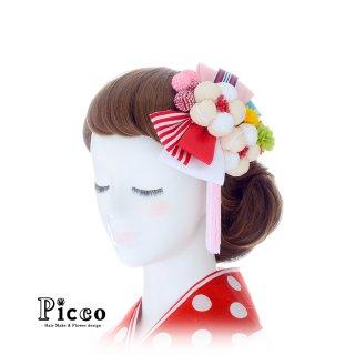 重ねリボンとふわもこ花の和装用髪飾りセット(ピンク)