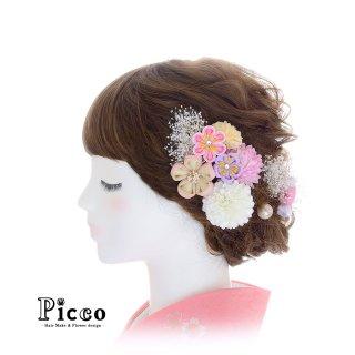 丸つまみ小花とマムとかすみ草の和装用髪飾りセット(ピンクB)
