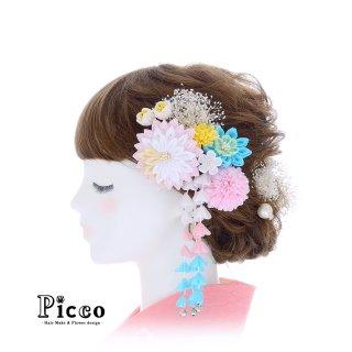 つまみ細工とマムとかすみ草の和装用髪飾りセット(ピンク)