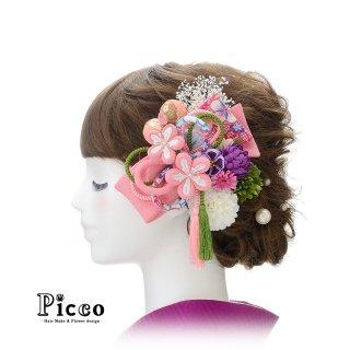 ピンクの和柄重ねリボンとマムの和装用髪飾りセット