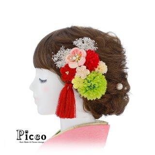 ちりめん細工の花飾りとマムの和装用髪飾りセット