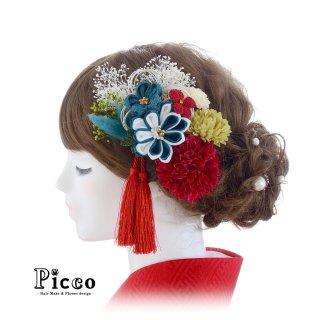 小花付きつまみ細工とマムの和装用髪飾りセット(ブルー)