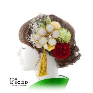白金桜とマムの和装用髪飾りセット