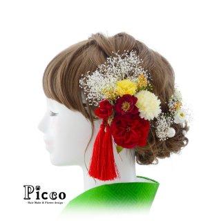 小振りローズとマムと3色かすみ草の和装用髪飾りセット(レッド)
