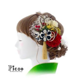白黒のつまみ細工の花飾りとローズとマムの和装用髪飾りセット
