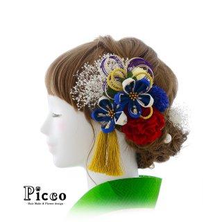 白青のつまみ細工の花飾りとローズとマムの和装用髪飾りセット