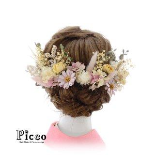 ドライフラワーの髪飾りセット(パステル)