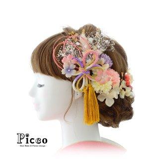 組紐リボンとマムと小花の和装用髪飾りセット