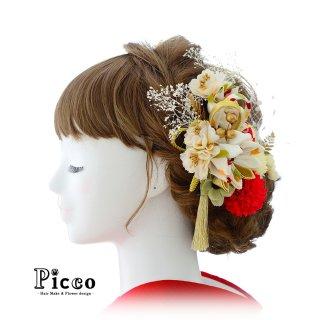つまみ細工と小花の和装用髪飾りセット