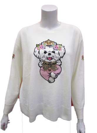 スーパービューティ(super beauty) / 犬の刺繍ニット
