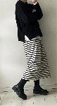 【予約販売になります】程よい幅のボーダースカート・handmade