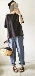 【sale!!】  シャンブレーのワイドパンツ