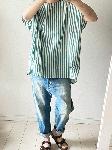 ストライプの半袖ゆったりTシャツ・handmade