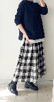 【予約販売になります】ブロックチェックのスカート・handmade