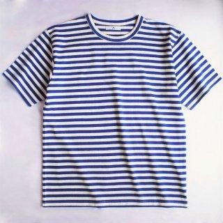 BボーダーTシャツ【国産・日本製】綿100%/無地/超厚手/ホワイト×ブルー/メンズ